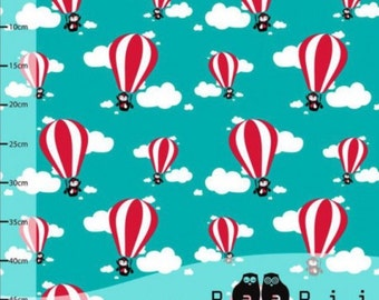 Organic jersey fabric, hot air balloons, turquoise, organic fabric, paapii, 1/4  metre units