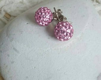 Light Rose Sparkle star - tender pink earrings 925 sterling silver, perfect for prom, ear jewelry, jewels, Preciosa Crystals