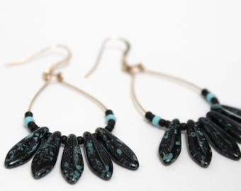 Earrings drops - black picasso and black - goldfilled