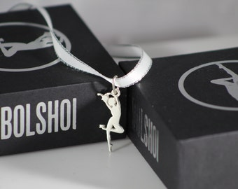 Ballet Dancer pendant, ballerina jewelry necklace on pointe,  Plie motion, serving Coffee, 925 Sterling Silver  (No chain).