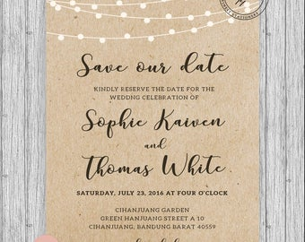 "Rustic Save The Our Date Cards. A5 (5x7"") Customized Personalized"