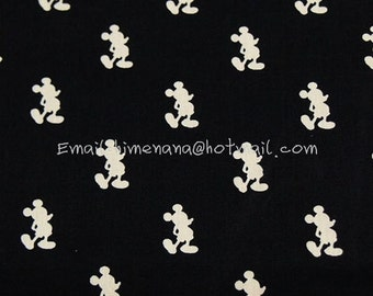 mi740 - 1 Yard Cotton Poplin Fabric - Cartoon Characters, Mickey Mouse Shadow - Black and Beige (W140)