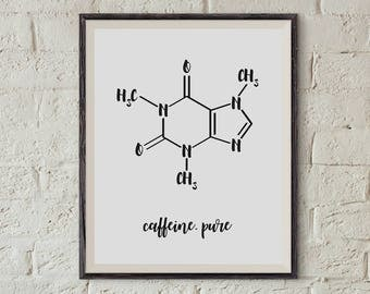 caffeine, coffee, caffeine molecule, motivational, chemical formula, chemistry, science, chemical art, printable art, printable biology