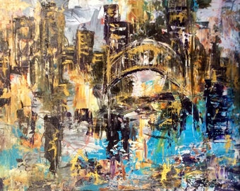 "City Golden Bridge Cityscape Abstract City Painting Original Oil Painting 16 x 20"""