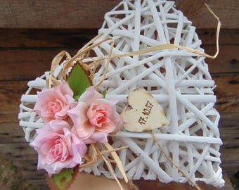 rustic heart wickerwedding decoration shabby vintage chic wedding wall decorwooden heart
