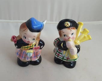 Vintage PY Scottish Boy and Girl Salt and Pepper S&P