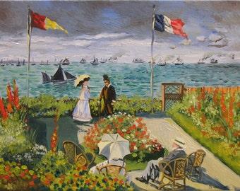 Copyright copy picture Claude Monet Impressionism Impressionist landscape sea wind red flowers custom customized request