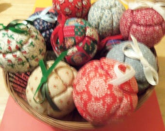 Choice of Handmade Quilted Fabric Ball Ornaments 4 Styles Available