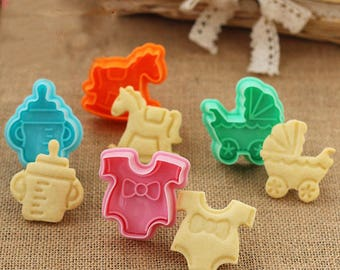 4 Pcs Baby Shower Cookie Cutter Stamp
