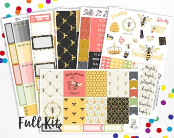 Bee About It- Vertical WEEKLY KIT Planner Stickers- Bees, Honey