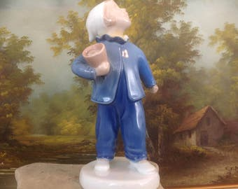 """Vintage Bing & Grondahl Figurine """"Who Is Calling?"""" Boy with Pot"""