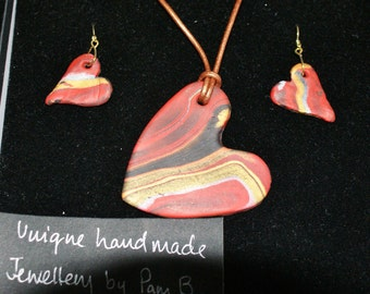Polymer clay red/gold/black heart pendant and earring set