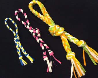 KNOTTED LOOP Dog Toy- Handmade from Recycled T-Shirts - Available in 3 sizes