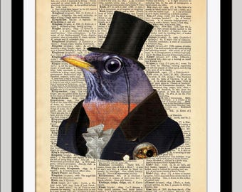 Gentleman Robin / Dictionary Art Print