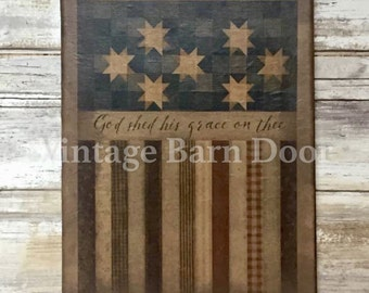 God Shed His Grace- American Flag 8x10 Canvas