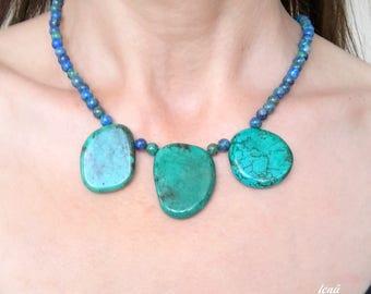 lapis, lapis lazuli necklace, original turquoise, navy blue necklace, turquoise necklace