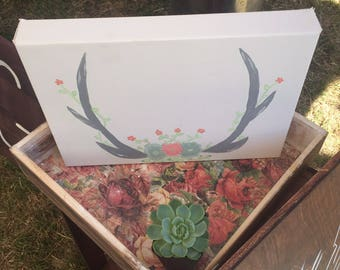 Painted Antler Canvas