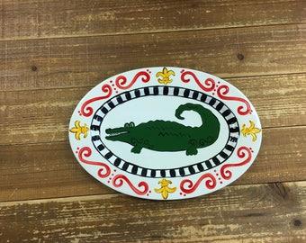 Hand Painted Gator Platter