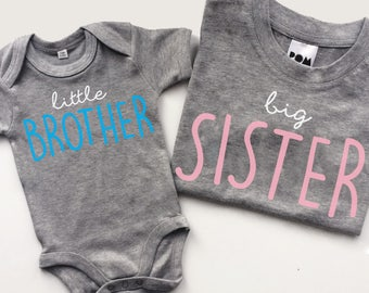 Big Sister T-shirt & Little Sibling Bodysuit Cute Matching Set