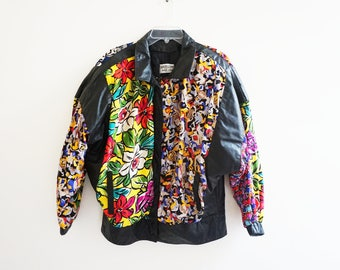 Leather 80's Floral Jacket