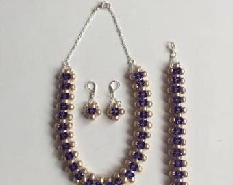 COLLAR,ARETES Y ARETES de perlas y murano azul