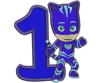 1st Birthday Blue Pj Masks Applique Design Instant Download 3 sizes