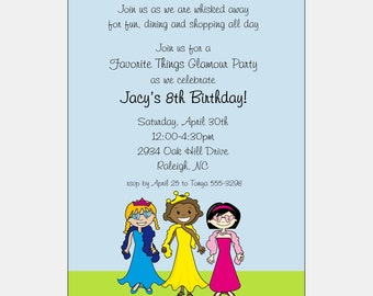 Kids Birthday Party | Multicultural Party Invitation | African American Party Invitation Glamour Party | Diva Birthday Party | Dressup Party
