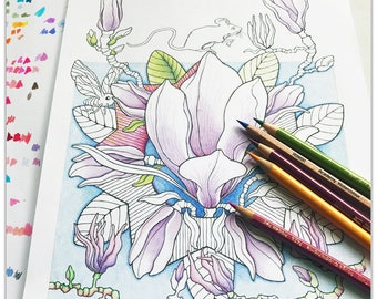 Printable Magnolia Magic 2 Colouring Pages