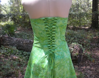Tinkerbell Costume with Lace Up Corset Back - Adjustable Tinker Bell Corset Dress - Any Size - Great for Fairy Princess Company