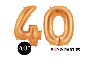 """SHIPS FAST - Giant Gold Number 40 Balloons, 40"""" Gold Balloons, 40th Birthday Balloons, Giant Number Balloons, Gold Party Decorations"""