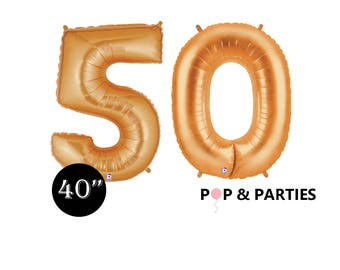"""SHIPS FAST - Giant Gold Number 40 Balloons, 40"""" Gold Balloons, 50th Birthday Balloons, Giant Number Balloons, 50th Anniversary Balloons"""
