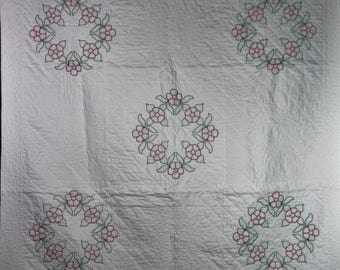 """Quilted Christmas tablecloth or lap quilt, 56""""x56"""""""