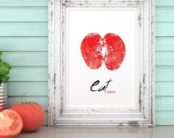 Printable Design - Eat Apples wall art, Digital File Only, *No Physical Item Will Ship