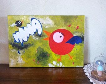 Paint acrylic, art and collection, canvas, birds, tweet, 35x24cm