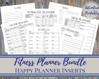 Fitness Planner Bundle, Daily Meal Planner, Workout Planner, Calorie Tracker  -Classic Happy Planner Printable Insert, Mambi, Create365