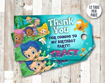 Bubble Guppies Thank You Tags, Bubble Guppies Favor Tags, Bubble Guppies Birthday Tag, Bubble Guppy Party Printables, Gift Label Hang Tag