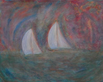Twin Boat Race Digital Print Painting