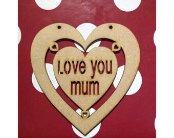 Large Wooden Heart Craft Shape Mum Dad Grandma Grandad
