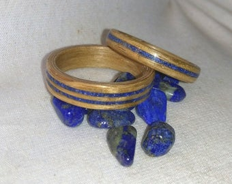 Lapis Lazuli and Oak his and hers bentwood ring set