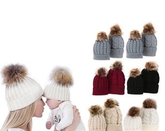 ON SALE..Mom and baby matching Pom hats, outfit, romany, baby hat, fur pom, winter hat, knitted hat, winter white, grey, red, black