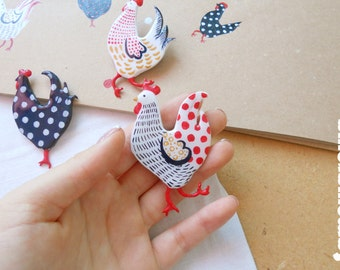 Funny chickens,hand-painted, brooches, brooches chickens, chicken, funny brooch, cute, painted chicken