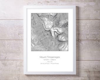 Mt Timpanogos, Utah, Topography Elevation Print Wall Art