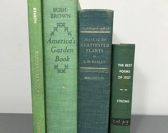Antique book set, old books, Green books, gold books, gardening books, book stack, large book set, home decor, vintage books, antique books