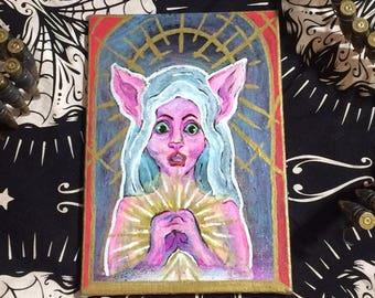 Sphynx Virgin Mary Acrylic Painting   On Canvas 6x8