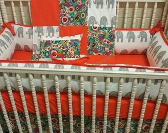 5 Piece Elephant Crib Bedding