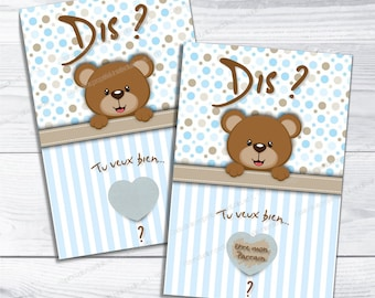 Scratchcard Godfather theme blue bear say want you be my sponsor