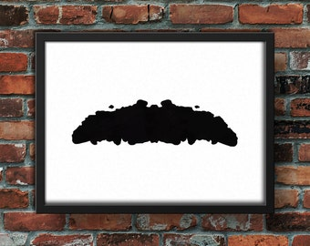 Moustache Ink Blot Digital Print