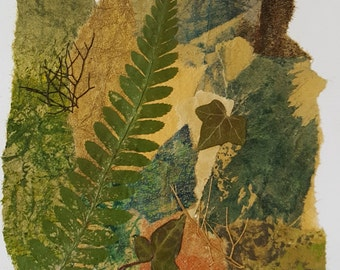 Natural  Art Collage Greeting Card.