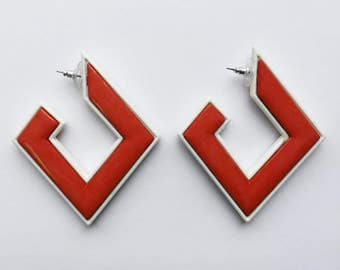 Vintage 70's Bold Red and White Mod Geometric Earrings