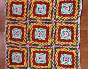 "28.5"" x 28.5"" Colorful Crocheted Quilt/Blanket"